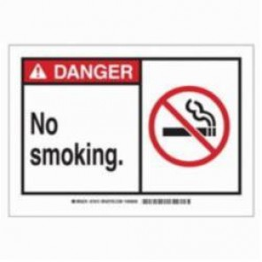 Brady® 83943 Laminated Rectangle No Smoking Sign, 3-1/2 in H x 5 in W, Black/Red on White, Surface Mount, B-302 Polyester