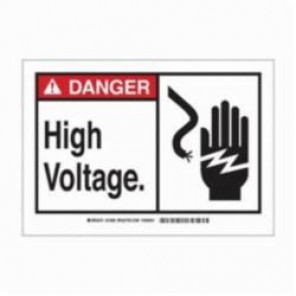 Brady® 83956 Laminated Rectangle Safety Sign, 3-1/2 in H x 5 in W, Black/Red on White, Self-Adhesive Mount, B-302 Polyester