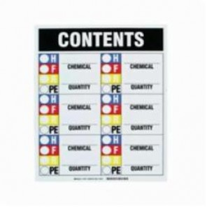 Brady® 30675 HMIG Contents Sign, 15 in H x 12 in W, Black/Red/Blue/Yellow on White, Magnetic