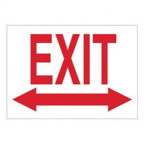 Brady® 41023 Exit & Directional Sign, 7 in H x 10 in W, Red on White, Surface Mount, B-555 Aluminum