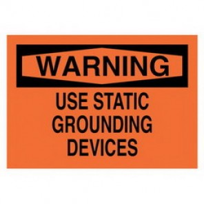 Brady® 41131 Electrical Hazard Sign, 14 in W x 10 in H, WARNING USE STATIC GROUNDING DEVICES, Black on Orange