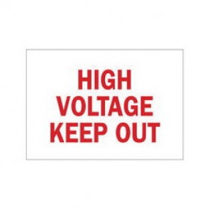 Brady® 41137 Electrical Hazard Sign, 10 in W x 7 in H, HIGH VOLTAGE KEEP OUT, Red on White, B-555 Aluminum