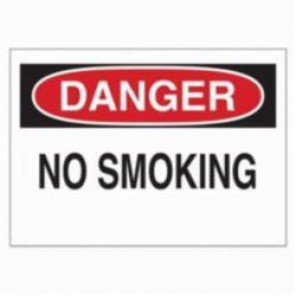 Brady® 88369 Laminated Rectangle No Smoking Sign, 3-1/2 in H x 5 in W, Black/Red on White, B-302 Polyester