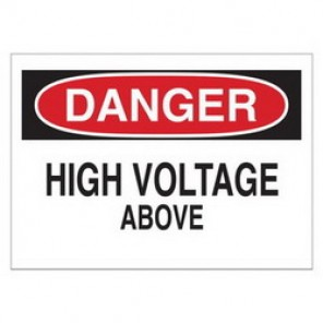 Brady® 43113 Electrical Hazard Sign, 10 in W x 7 in H, DANGER HIGH VOLTAGE ABOVE, Black/Red on White, B-555 Aluminum