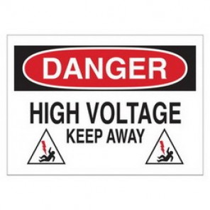 Brady® 43118 Electrical Hazard Sign, 14 in W x 10 in H, DANGER HIGH VOLTAGE KEEP AWAY (W/PICTO), Black/Red on White