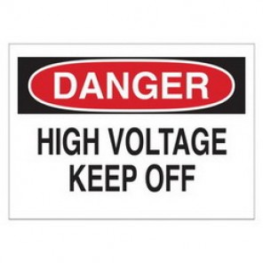 Brady® 43120 Electrical Hazard Sign, 14 in W x 10 in H, DANGER HIGH VOLTAGE KEEP OFF, Black/Red on White