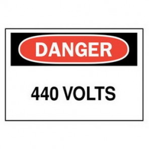 Brady® 43143 Electrical Hazard Sign, 10 in W x 7 in H, DANGER 440 Volts, Black/Red on White, B-555 Aluminum