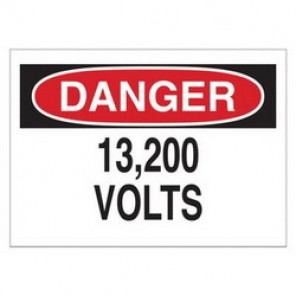Brady® 43146 Electrical Hazard Sign, 14 in W x 10 in H, DANGER 13,200 Volts, Black/Red on White, B-555 Aluminum