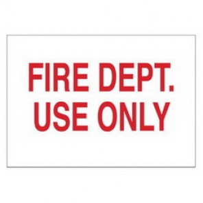 Brady® 43288 Fire Sign, 7 in H x 10 in W, Red on White, Surface Mount, B-555 Aluminum