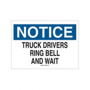 Brady® 43412 Industrial Traffic Sign, 10 in H x 14 in W, Black/Blue on White, Surface Mount, B-555 Aluminum