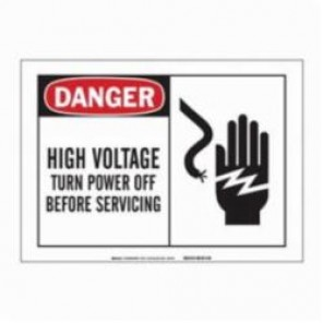 Brady® 83907 Laminated Rectangle Danger Sign, 3-1/2 in H x 5 in W, Black/Red on White, Self-Adhesive Mount, B-302 Polyester