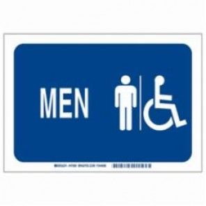Brady® 47699 High Performance Restroom Sign, 10 in H x 7 in W, Blue on White, B-302 Polyester