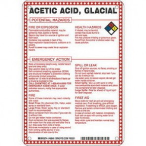Brady® 48840 Hazardous Material Sign, 10 in H x 7 in W, Black/Red/Blue/Yellow on White, B-120 Premium Fiberglass
