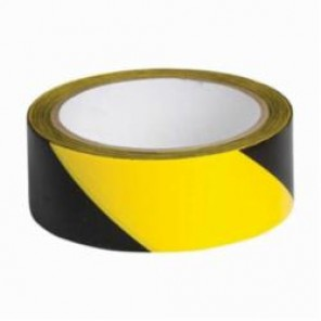 Brady® 55301 Warning Tape, 1-1/2 in W x 18 yd L, 6 mil THK, Stripe, Black/Yellow