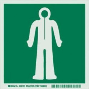 Brady® 59122 IMO Evacuation Sign, 6 in H x 6 in W, Light Green on Green, Self-Adhesive Mount, B-324 Glow-In-The-Dark Polyester