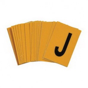 "Brady® 3400-J Standard Letter Label, 1/4 in J"" Character, 3/8 in H x 1/4 in W, Black on Yellow"""