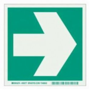 Brady® 59277 Rectangle Evacuation Sign, 6 in H x 6 in W, Light Green on Green, Self-Adhesive Mount, B-324 Glow-In-The-Dark Polyester