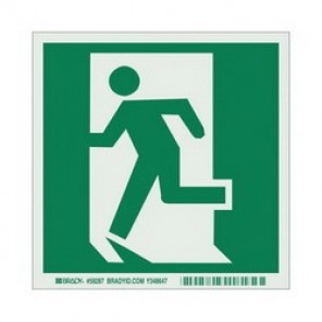 Brady® 59287 Evacuation Sign, 6 in H x 6 in W, Light Green on Green, Surface Mount, B-324 Glow-In-The-Dark Polyester