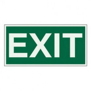 Brady® 59330 Evacuation Sign, 3 in H x 6 in W, Light Green on Green, Surface Mount, B-347 Glow-In-The-Dark Plastic