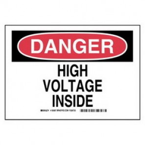 Brady® 59386 Electrical Hazard Sign, 10 in W x 7 in H, DANGER HIGH VOLTAGE INSIDE, Black/Red on White, B-401 Plastic