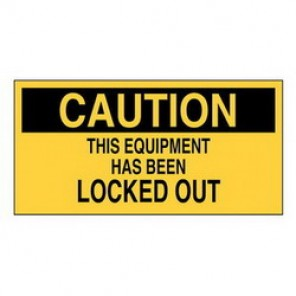 Brady® 60172 Lockout Sign, 2-1/4 in H x 4-1/2 in W, Black on Yellow, Surface Mount, B-946 Vinyl