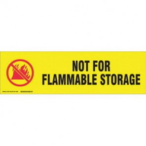 Brady® 60274 Cabinet Label, 7 in H x 24 in W, B-302 Polyester, Black/Red on Yellow