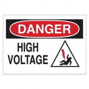 Brady® 60580 Electrical Hazard Sign, 14 in W x 10 in H, DANGER HIGH VOLTAGE (W/PICTO), Black/Red on White