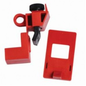 Brady® 65965 1-Pole Clamp-On Circuit Breaker Lockout, 120/277 VAC, Red, Rugged Polypropylene/Impact Modified Nylon, 9/32 in Max Dia Padlock Shackle, For Use With Single and Multi-Pole Circuit Breaker