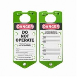 Brady® 65973 Labeled Lockout Hasp, 5/16 in Max Dia Padlock Shackle, 6 Padlocks, 7-1/4 in L, Green, 5052 Anodized Aluminum Alloy