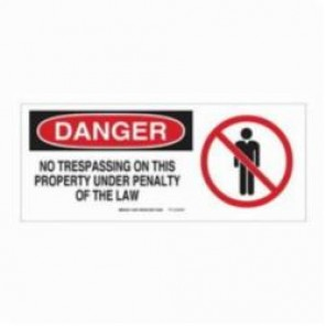 Brady® 70456 Rectangle Admittance Sign, 7 in H x 17 in W, Black/Red on White, Surface Mount, B-120 Premium Fiberglass