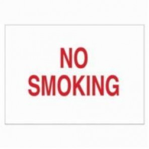 Brady® 89176 Laminated Rectangle No Smoking Sign, 3-1/2 in H x 5 in W, Red on White, B-302 Polyester