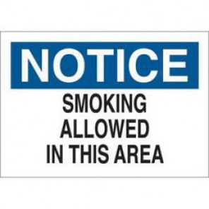 Brady® 72328 No Smoking Sign, 7 in H x 10 in W, Black/Blue on White, Surface Mount, B-120 Premium Fiberglass