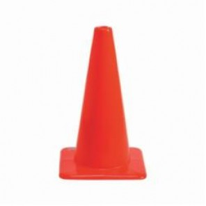Brady® 80111 Flexible Rigid Traffic Cone, 18 in H, Fluorescent Orange Vinyl Cone