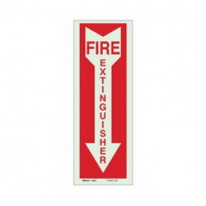 Brady® 80243 Fire Sign, 5 in H x 14 in W, Red on Green, Surface Mount, B-324 Glow-In-The-Dark Polyester