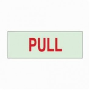 Brady® 80253 BradyGlo™ Rectangle Exit & Directional Sign, 2-1/2 in H x 7 in W, Green on Red, Self-Adhesive Mount, B-324 Glow-In-The-Dark Polyester