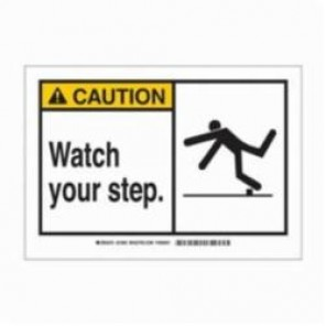 Brady® 83931 Laminated Rectangle Safety Sign, 3-1/2 in H x 5 in W, Black on Yellow, Self-Adhesive Mount, B-302 Polyester