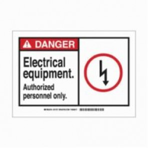 Brady® 83900 Laminated Rectangle Safety Sign, 3-1/2 in H x 5 in W, Black/Red on White, Self-Adhesive/Surface Mount, B-302 Polyester
