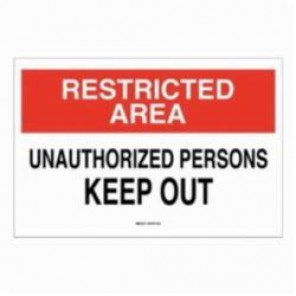 Brady® 87758 Laminated Rectangle Admittance Sign, 3-1/2 in H x 5 in W, Black/Red on White, Self-Adhesive/Surface Mount, B-302 Polyester