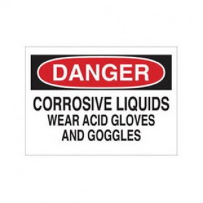 Brady® 84370 Laminated Chemical & Hazardous Material Sign, 10 in H x 14 in W, Black/Red on White, Surface Mount