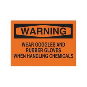Brady® 84492 Laminated Chemical & Hazardous Material Sign, 10 in H x 14 in W, Black on Orange, Surface Mount