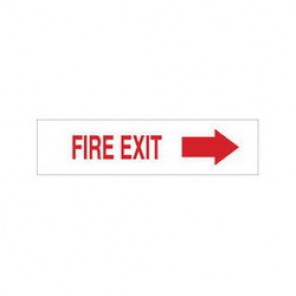 Brady® 84636 Exit & Directional Sign, 3-1/2 in H x 14 in W, Red on White, Surface Mount, B-302 Polyester