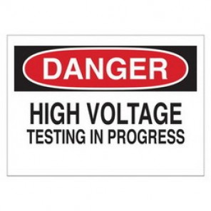 Brady® 84897 Electrical Hazard Sign, 10 in W x 7 in H, DANGER HIGH VOLTAGE TESTING IN PROGRESS, Black/Red on White