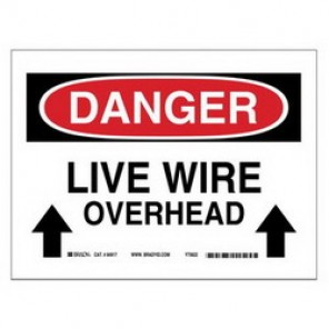 Brady® 84917 Electrical Hazard Sign, 10 in W x 7 in H, DANGER LIVE WIRE OVERHEAD, Black/Red on White, B-302 Polyester
