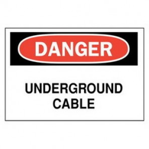 Brady® 84925 Electrical Hazard Sign, 10 in W x 7 in H, DANGER UNDERGROUND CABLE, Black/Red on White, B-302 Polyester