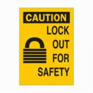Brady® 42432 Rectangular Caution Sign, 10 in H x 7 in W, Black on Yellow, Surface Mount, B-555 Aluminum