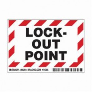 Brady® 86204 Laminated Rectangle Lockout Point Label, 3-1/2 in H x 5 in W, Black/Red on White, B-302 Polyester
