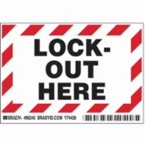 Brady® 86245 Lockout Here Label, 5 in H x 3-1/2 in W, Black/Red on White, Self-Sticking Polyester
