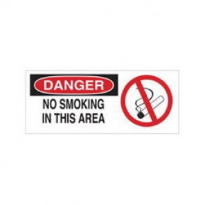 Brady® 87797 No Smoking Sign, 3-1/2 in H x 5 in W, Red on White, Surface Mount, B-302 Polyester