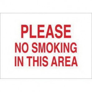 Brady® 88458 No Smoking Sign, 10 in H x 14 in W, Red on White, Surface Mount, B-302 Polyester