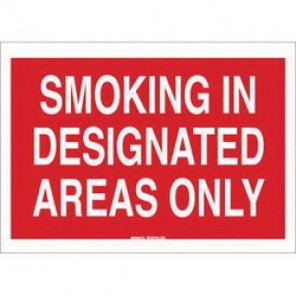 Brady® 88467 No Smoking Sign, 7 in H x 10 in W, White on Red, Surface Mount, B-302 Polyester